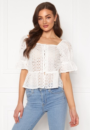 Blue Vanilla Puff Sleeve Broderie Blouse Ivory XS (UK8)