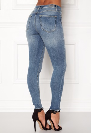 ONLY Blush Mid Raw Jeans Light Blue Denim XL/30