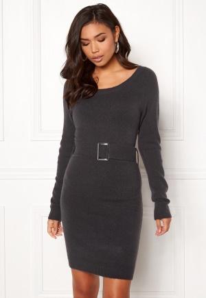 BUBBLEROOM Alissa knitted dress Dark grey melange XL