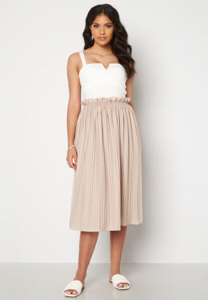BUBBLEROOM Anna midi pleated skirt Beige XL