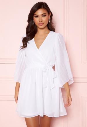 Image of BUBBLEROOM Fayme pleated sleeve dress White 38