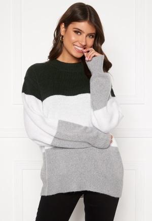 BUBBLEROOM Lindy block knitted sweater Light grey / Dark grey XL
