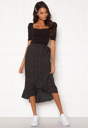 BUBBLEROOM Villima midi skirt Black / White / Dotted 34