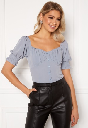 BUBBLEROOM Violie puff sleeve top Dusty blue 42