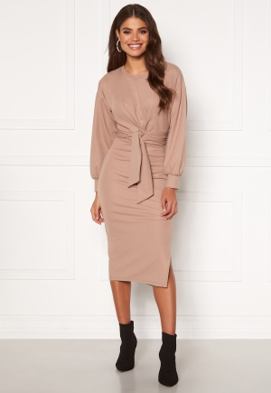 BUBBLEROOM Tea soft tie puff sleeve dress Nougat L