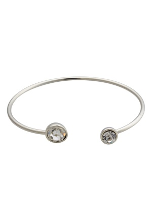 BY JOLIMA Moon Bracelet Open Bangle Crystal Silver One size
