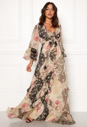 Goddiva Wrap Front Maxi Dress Latte L (UK14) | Maxiklänningar |