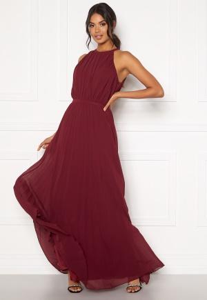 Chi Chi London Aida Pleated Maxi Dress Burgundy M (UK12)