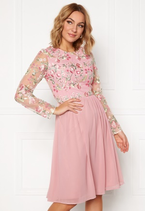 Chi Chi London Bee embroidered MidiDress Nude XL (UK16)