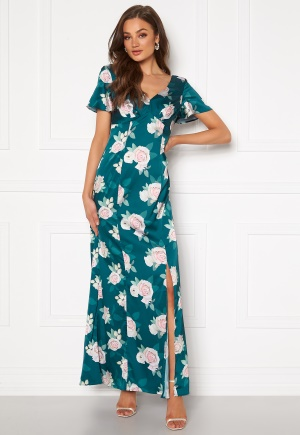 Image of Chi Chi London Meadow Floral Maxi Dress Teal S (UK10)