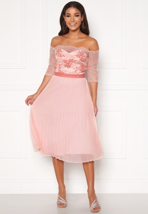 Image of Chi Chi London Selda Bardot Midi Dress Pink L (UK14)
