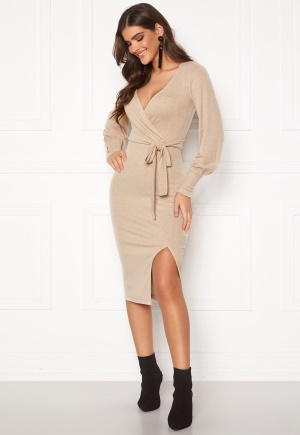 Chiara Forthi Cashmere-Feel Knitted Wrap Dress Beige XL
