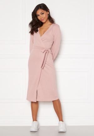 Chiara Forthi Corina rib wrap midi dress Dusty pink L