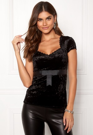 Chiara Forthi Piubella Velvet Top Black L