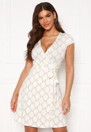 Chiara Forthi Sonnet Mini Wrap Dress s/s Offwhite / Gold XS