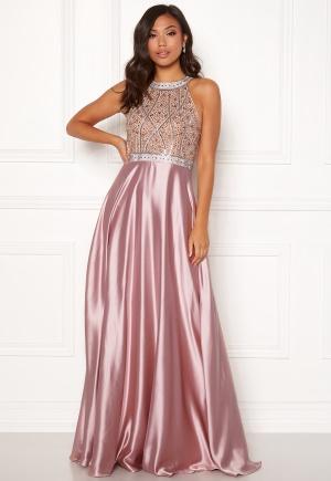 Christian Koehlert Rhinestone Satin Dress Pearl Pink 34