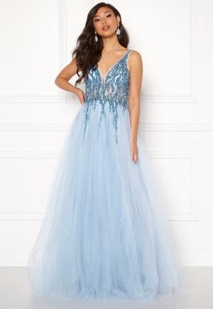 Christian Koehlert Sparkling Tulle Dream Dress Aqua Blue 34