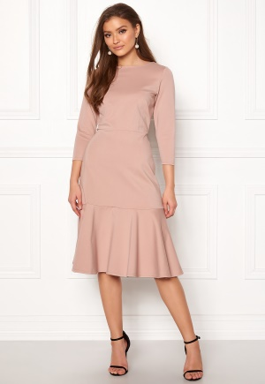 Closet London Long Sleeve Peplum Dress Nude S (UK10)