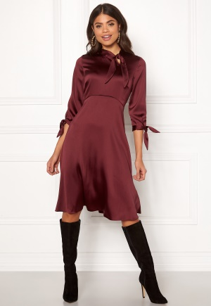 Closet London Tie Neck A-Line Dress Burgundy M (UK12)
