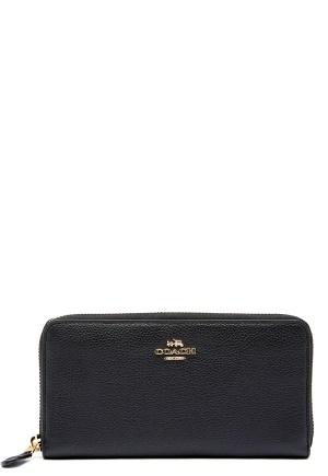 COACH Cordion Zip Around Wallet LIBLK Black One size