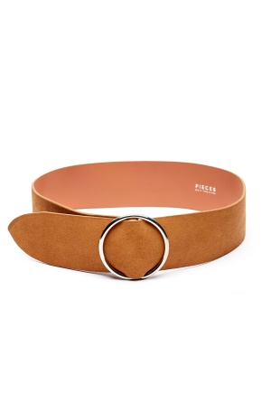 Image of Pieces Docia Suede Waist Belt Cognac 70