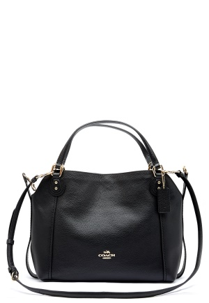 COACH Edie Leather Bag LIBLK Black One size