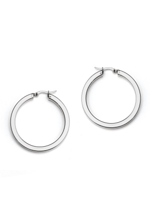 WOS Flat Silver Hoops Earring Silver One size