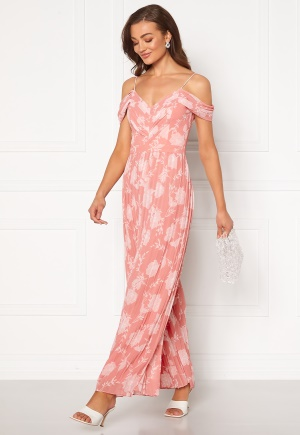 FOREVER NEW Daniella Pleat Jumpsuit Coral Linear Spray 34