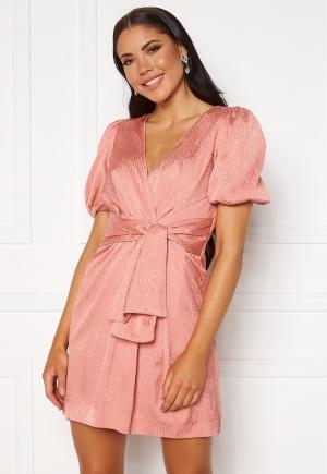 FOREVER NEW Ellie Jacquard Mini Dress Pastel Salmon 36