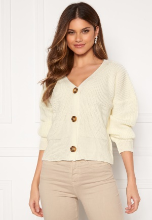 Girl In Mind Aria 3 Button Long Sleeve Knit Cardigan Creme M/L