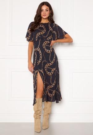 Girl In Mind Britney Angel Sleeve Split Leg Midi Dress Navy chain print L (UK14)