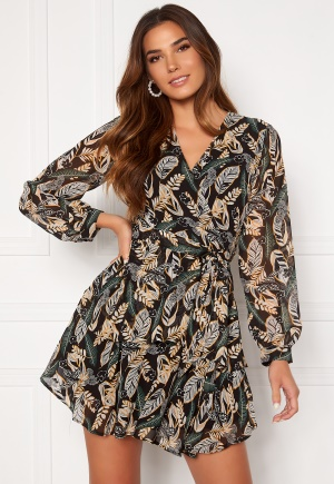 Girl In Mind Camila Long Sleecve Chiffon Mini Dress Black Leaf L (UK14)
