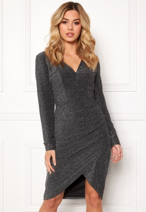 Girl In Mind Darcey Lurex V Neck Dress Silver XS (UK8)