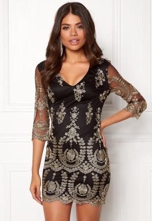Girl In Mind Embroidered Mini Dress Black L (UK14)