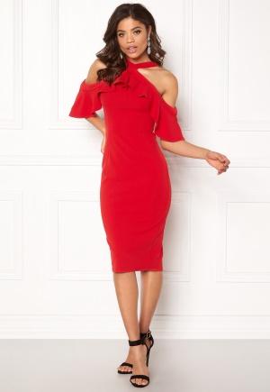 Girl In Mind Halterneck Frill Dress Red L (UK14)