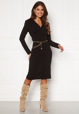 Girl In Mind Josephine Long Sleeve Belted Midi Dress Black M (UK12)