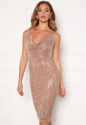 Girl In Mind Valentina Cowl Neck Sequin Midi Dress Mocha L (UK14)