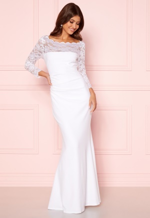 Goddiva 3/4 Lace Trim Maxi Dress White XXL (UK18)