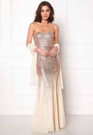 Goddiva Bandeau Sequin Maxi Dress Champagne L (UK14)