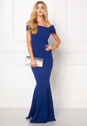Goddiva Bardot Fishtail Maxi Dres Royal Blue XS (UK8)