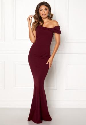 Goddiva Bardot Fishtail Maxi Dress Berry L (UK14)