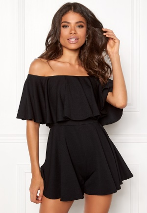 Goddiva Resort Bardot Frill Playsuit Black L (UK14)