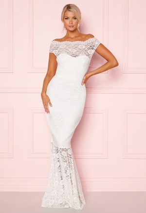 Image of Goddiva Bardot Lace Maxi Dress White XL (UK16)