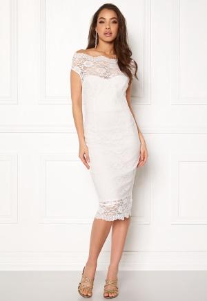 Goddiva Bardot Lace Midi Dress White S (UK10)