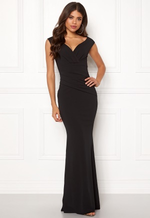 Goddiva Bardot Pleat Maxi Dres Black L (UK14)