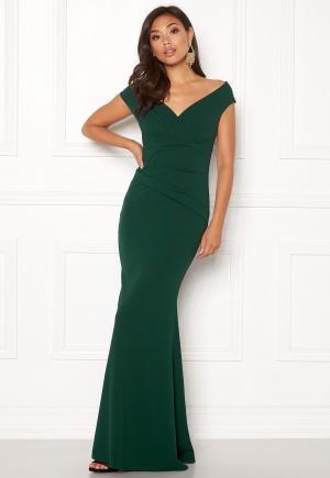 Goddiva Bardot Pleat Maxi Dress Emerald L (UK14)