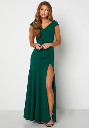 Goddiva Bardot Pleat Maxi Split Dress Emerald XL (UK16)