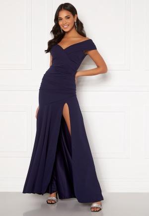 Goddiva Bardot Pleat Maxi Split Dress Navy XL (UK16)