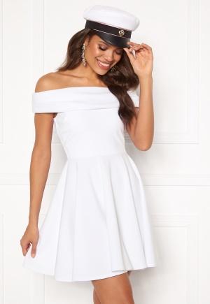 Goddiva Bardot Skater Dress White L (UK14)