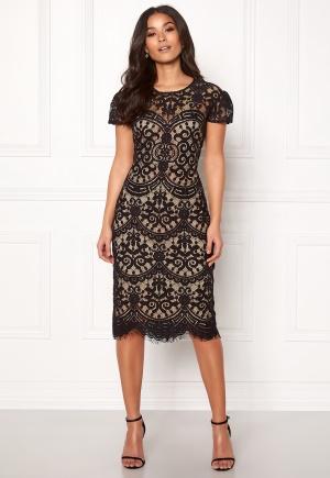 Image of Goddiva Cap Sleeve Lace Dress Black/nude XS (UK8)